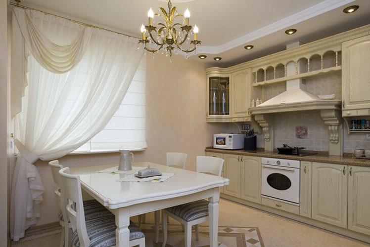 Шторы на кухню в стиле классика